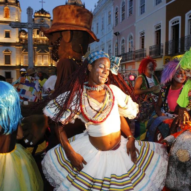"""Salvador street carnival in Pelourinho, Bahia, Brazil, South America"" stock image"
