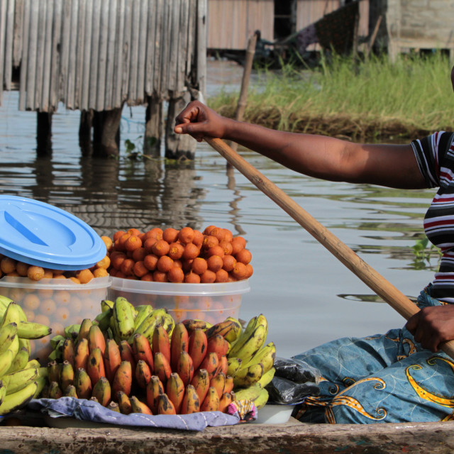 """African woman mark paddling a canoe carrying fruit to market, Ganvie, Benin,..."" stock image"