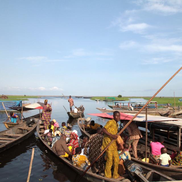 """Starting of canoes on Lake Nokoue, Ganvie, Benin, West Africa, Africa"" stock image"