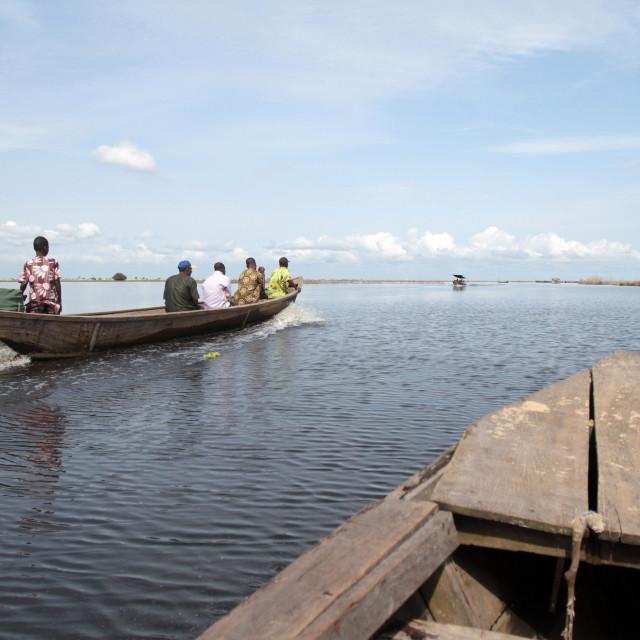 """Canoe on Lake Nokoue, Ganvie, Benin, West Africa, Africa"" stock image"