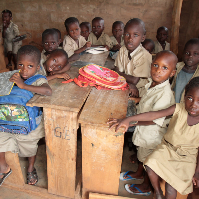 """Wore African school classroom, Hevie, Benin, West Africa, Africa"" stock image"