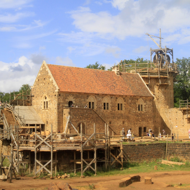 """Medieval site of the castle of Guedelon, Puisaye, Burgundy, France, Europe"" stock image"