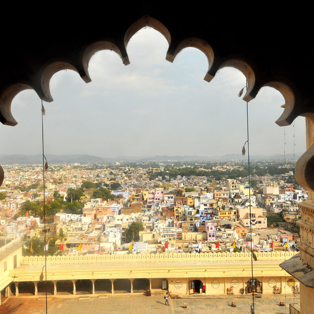 """Udaipur city view from Udaipur City Palace Museum, Rajasthan, India, Asia"" stock image"