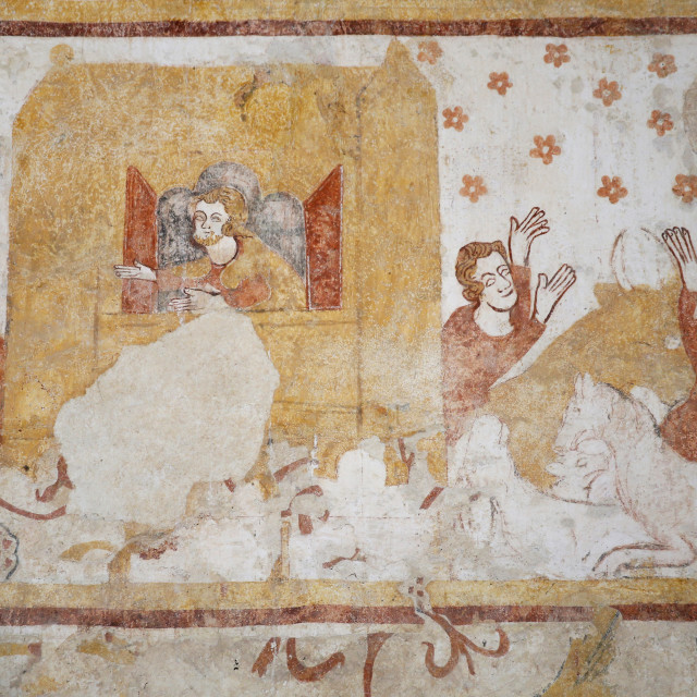 """""""Mural of Noah's Ark and The Flood, dating from the 12th to 16th centuries,..."""" stock image"""
