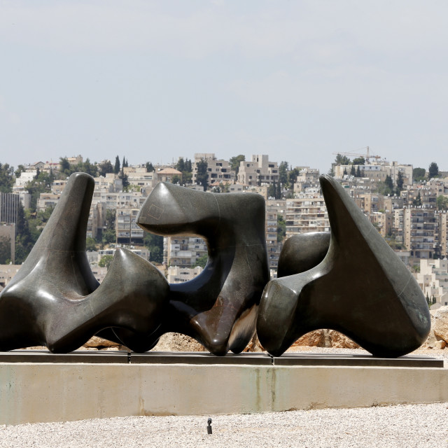 """Three Pieces sculpture Vertebrae by Henry Moore, 1968-1969, The Israel..."" stock image"