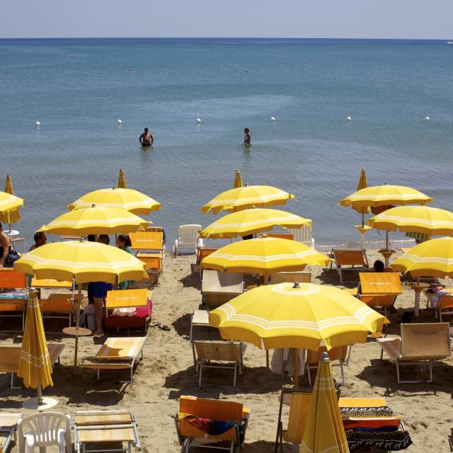 """A classical Lido on the Ionian Sea, on the Basilcata south coast, Italy, Europe"" stock image"