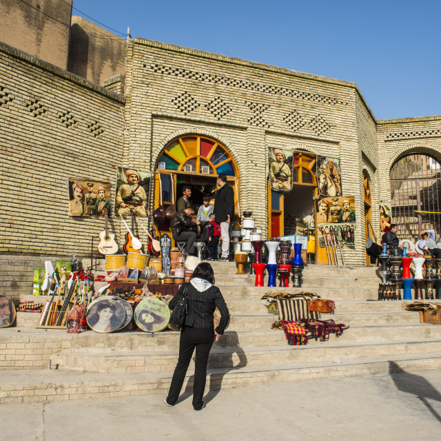 """Kurdish souvenirs for sale below the citadel of Erbil (Hawler), capital of..."" stock image"