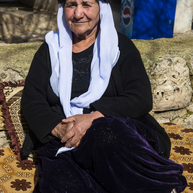 """Yazidi woman in Lalish capital of the Kurdish sect of the Yazidis in Iraq..."" stock image"
