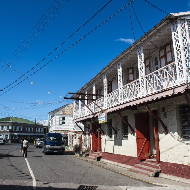 """""""Downtown Charlestown, capital of Nevis Island, St. Kitts and Nevis, Leeward..."""" stock image"""