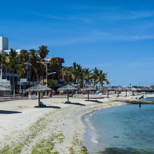 """Town beach of La Paz, Baja California, Mexico, North America"" stock image"