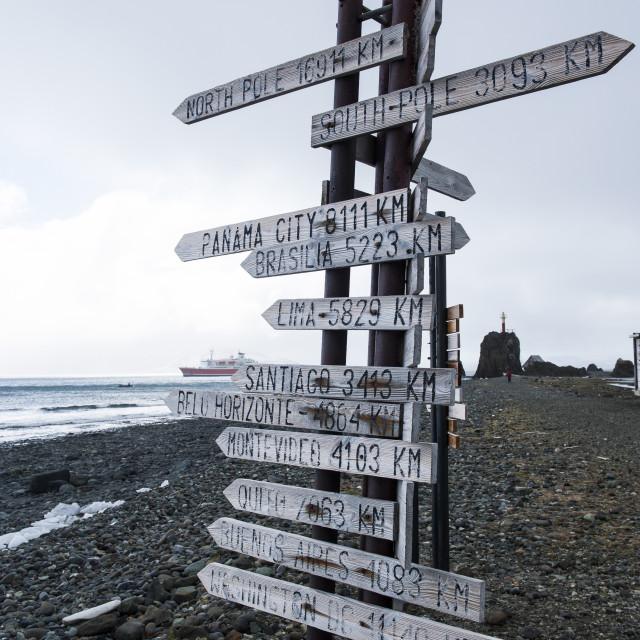 """Worldwide signpost, Henryk Arctowski Polish Antarctic Station, King George..."" stock image"