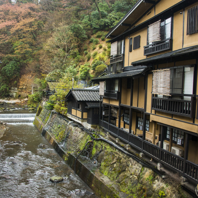 """Kurokawa onsen, public spa, Kyushu, Japan, Asia"" stock image"