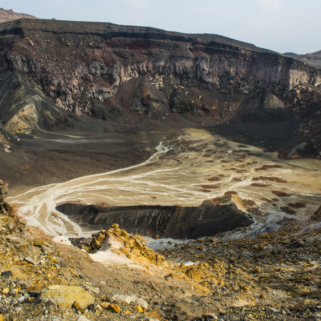 """Crater rim on Mount Naka active volcano, Mount Aso, Kyushu, Japan, Asia"" stock image"