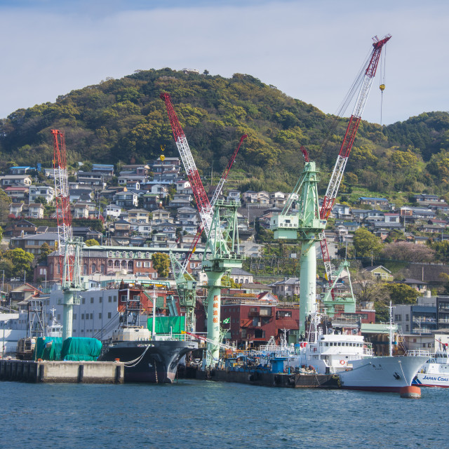 """Wharf in the harbour of Nagasaki, Kyushu, Japan, Asia"" stock image"