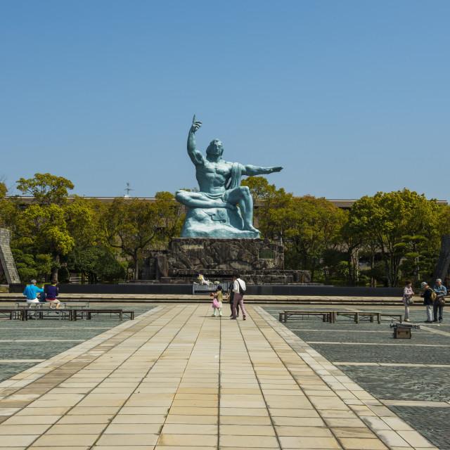"""Peace statue in the Peace Park, Nagasaki, Kyushu, Japan"" stock image"
