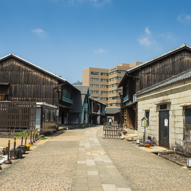 """Colonial buildings in Dejima man made island in the port of Nagasaki, Kyushu,..."" stock image"