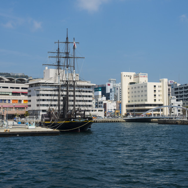"""Old sailing ship, harbour of Nagasaki, Kyushu, Japan, Asia"" stock image"