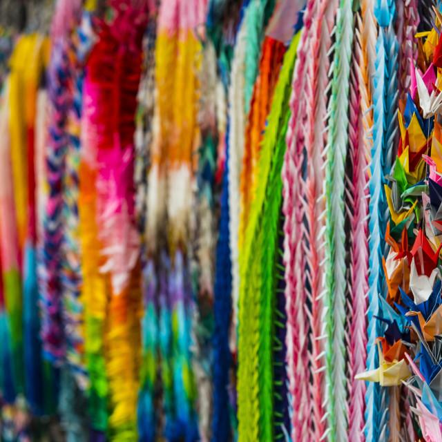 """""""Colourful prayer ribbons at the Endless Red Gates of Kyoto's Fushimi Inari,..."""" stock image"""