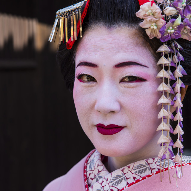 """Traditionally dressed Geishas in the old quarter of Kyoto, Japan, Asia"" stock image"