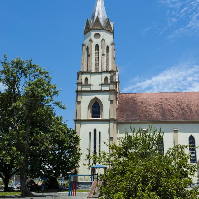 """Lutheran church in the German town of Blumenau, Brazil, South America"" stock image"