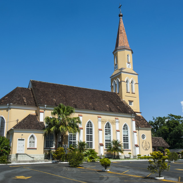 """""""Lutheran church in the German speaking town of Pomerode, Brazil, South America"""" stock image"""
