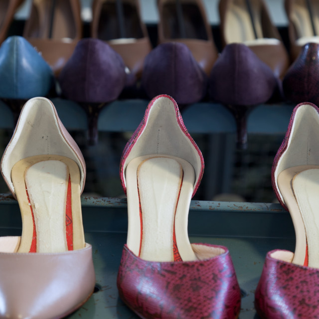 """""""Shoe models at the pattern making laboratory at Cercal footwear school, San..."""" stock image"""