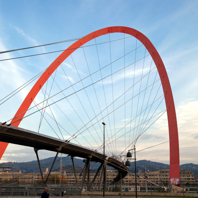 """The Olympic Arch of Turin, a pedestrian bridge, symbol of the XX Olympic..."" stock image"