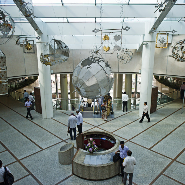 """Traders cross the floor in the lobby of the World Trade Center, Colombo, Sri..."" stock image"