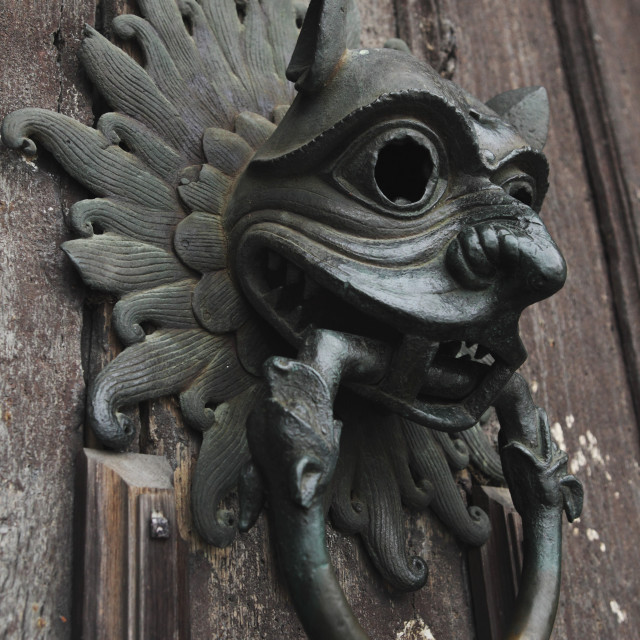 """""""The Sanctuary Knocker, which people knocked on for asylum in medieval times,..."""" stock image"""