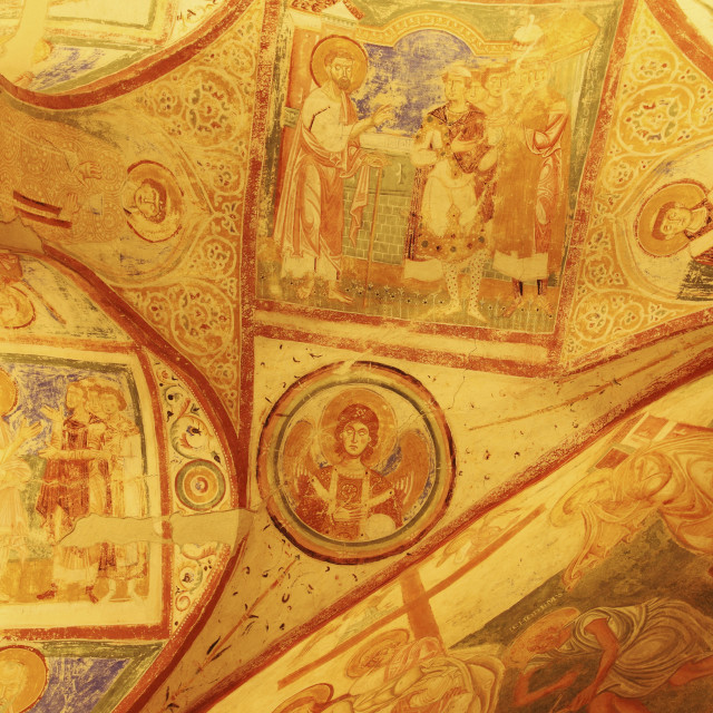 """Ninth-century Christian frescoes, crypt ceiling, the Basilica of Santa Maria..."" stock image"