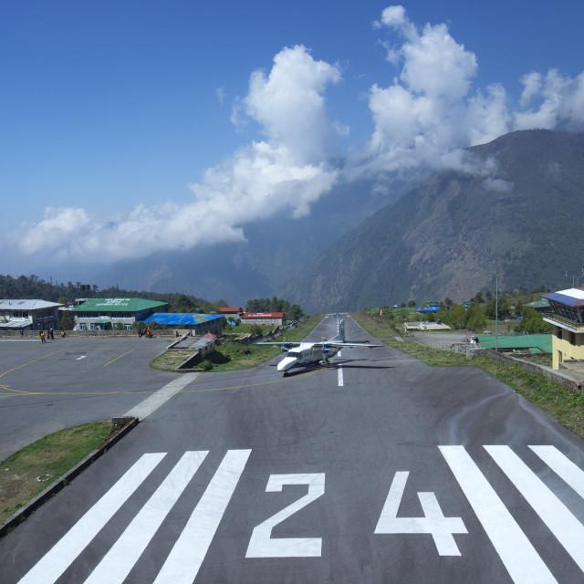 """Sita Air Dornier 228 airplane landing on runway, Tenzing-Hillary Airport,..."" stock image"