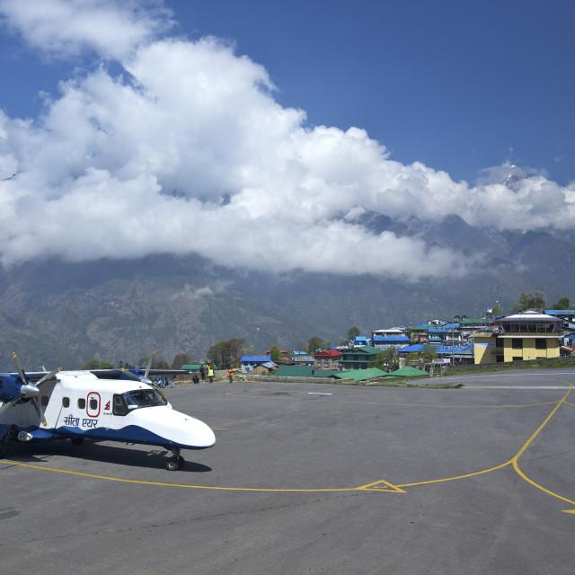 """Sita Air Dornier 228 Aircraft approaching runway, Tenzing-Hillary Airport,..."" stock image"