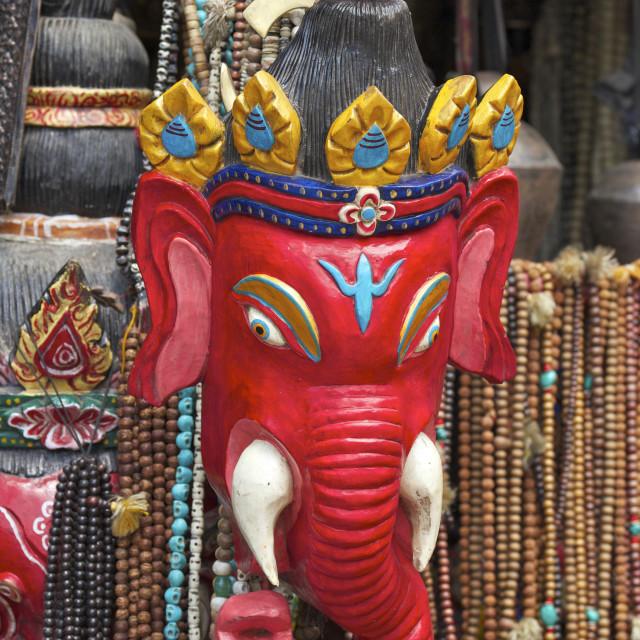 """Mask of Ganesha, a Hindu god, on sale at Swayambhunath Stupa (Monkey Temple),..."" stock image"
