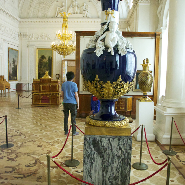 """Large blue vase, State Hermitage Museum, St. Petersburg, Russia, Europe"" stock image"