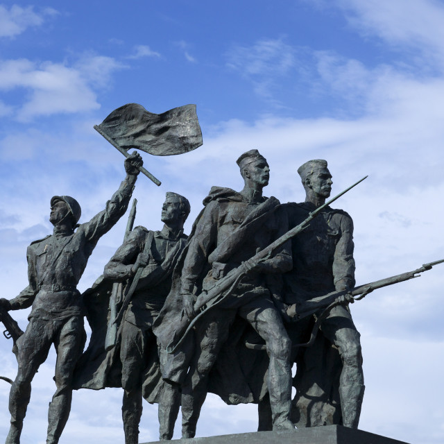 """Sculpture of soldiers, Monument to the Heroic Defenders of Leningrad, Victory..."" stock image"