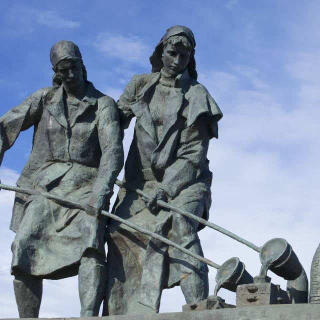 """Female munition workers, Monument to the Heroic Defenders of Leningrad,..."" stock image"