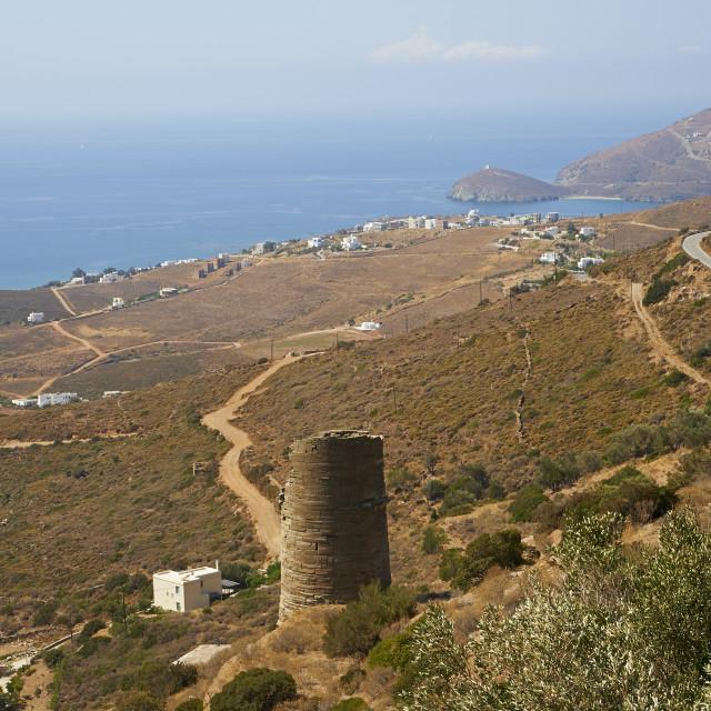 """Hellenic tower, Agios Petros, Andros Island, Cyclades, Greek Islands, Greece,..."" stock image"