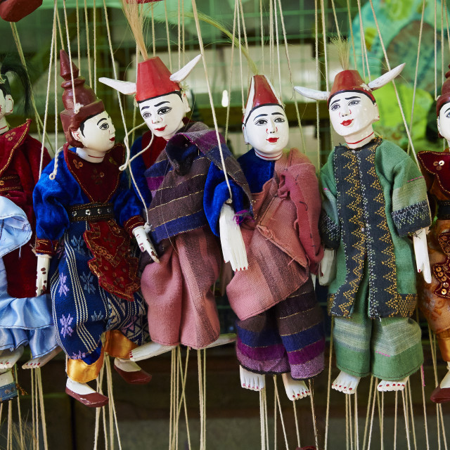 """""""Traditional dolls for sale in the market, Bagan (Pagan), Myanmar (Burma), Asia"""" stock image"""