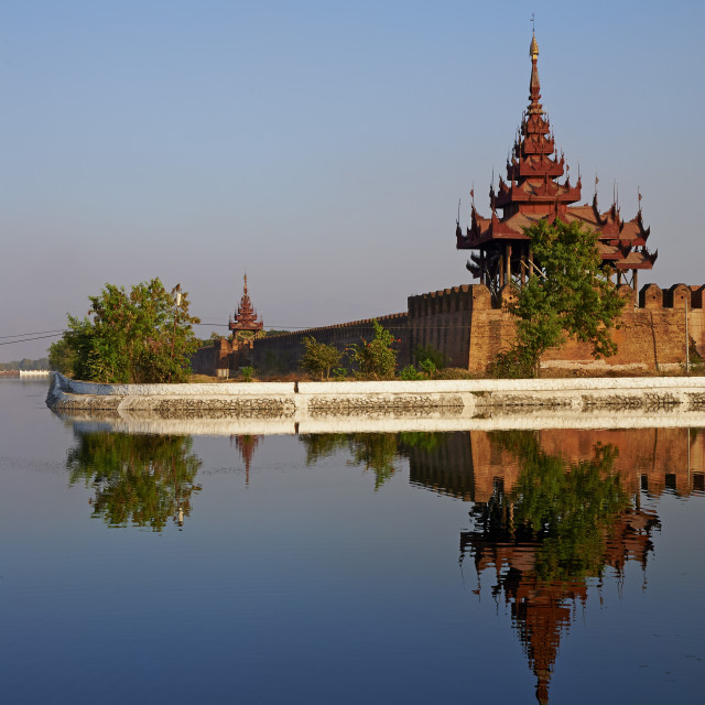 """""""Corner of the surrounding wall reflected in the moat, Mandalay Palace,..."""" stock image"""