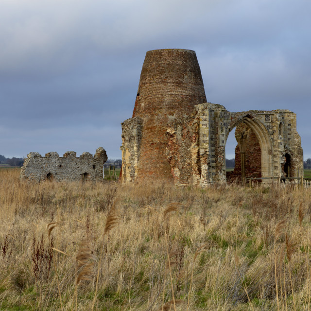 """""""The remains of the 14th century St. Benet's Abbey and the windmill built..."""" stock image"""