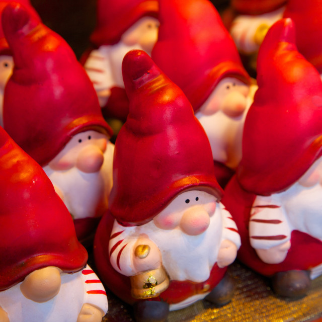 """Santa Clauses in Christmas Market, Dortmund, North Rhine-Westphalia, Germany,..."" stock image"