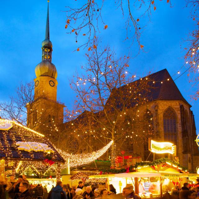 """St. Reinoldi Church and Christmas Market at dusk, Dortmund, North..."" stock image"