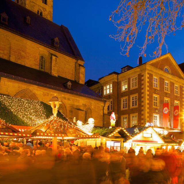 """Willy Brandt Platz and Christmas Market, Dortmund, North Rhine-Westphalia,..."" stock image"