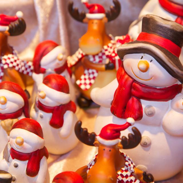 """Christmas ornaments in Christmas Market, Munster, North Rhine-Westphalia,..."" stock image"