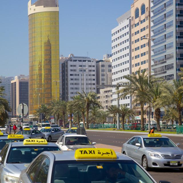 """Madinat Zayed Shopping and Gold Centre and taxi rank, Abu Dhabi, United Arab..."" stock image"