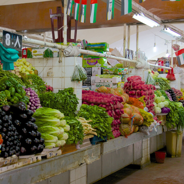 """Vegetable and meat market, Al Ain, Abu Dhabi, United Arab Emirates, Middle East"" stock image"