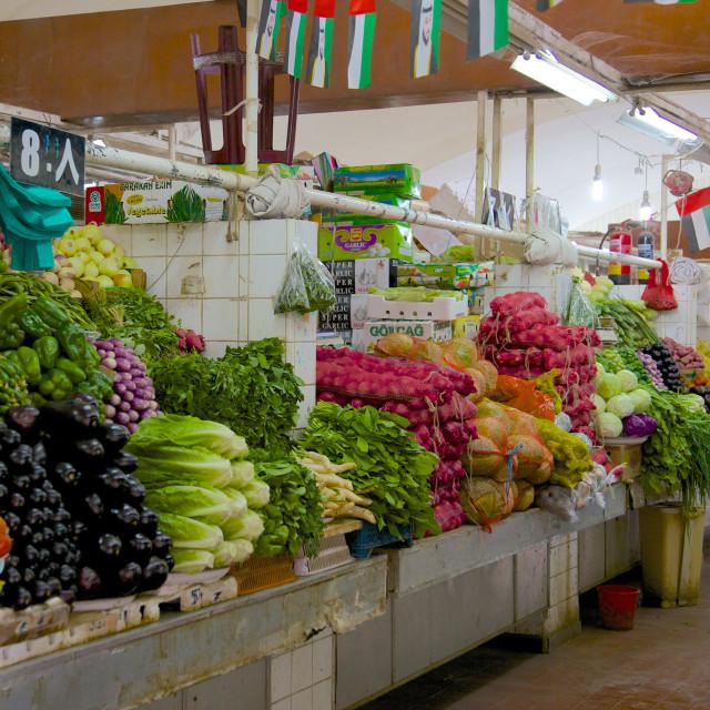 """Vegetable and meat market, Al Ain, Abu Dhabi, United Arab Emirates, Middle East"" stock image"