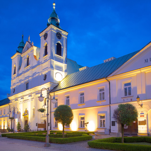 """Old Convent of Piarist Friars and St. Cross Church at dusk, Rzeszow, Poland,..."" stock image"