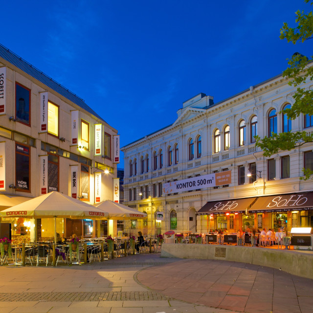 """Harry Hjomes Place at dusk, Gothenburg, Sweden, Scandinavia, Europe"" stock image"