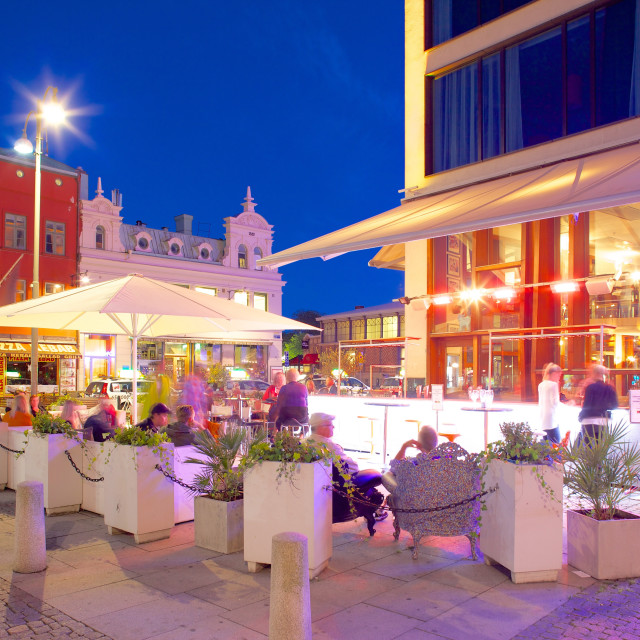 """Restaurant on Vallgatan at dusk, Gothenburg, Sweden, Scandinavia, Europe"" stock image"